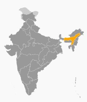 Carte de la région d'Assam en Inde